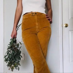 ANTHROPOLOGIE: corduroy, ochre, flare, high rise